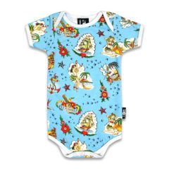 Six Bunnies - Hawaii romper Aloha Sailor - blue with print