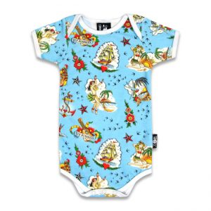 Six Bunnies - Hawaii romper Aloha Sailor - blauw met print