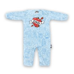 Six Bunnies - daddy playsuit Dad Blue - blauw met print