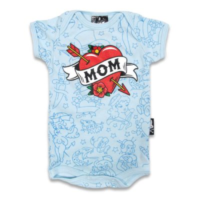 Six Bunnies - mama romper Mom Blue - blauw met print
