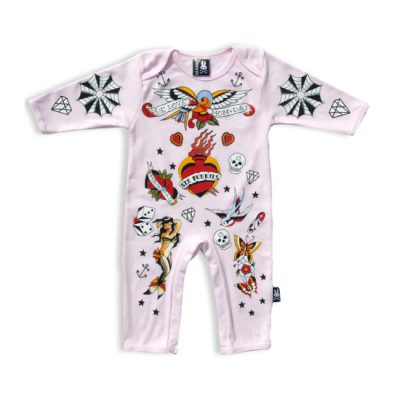 Six Bunnies - oldschool playsuit Pink Old-School Bunny Suit - roze met print