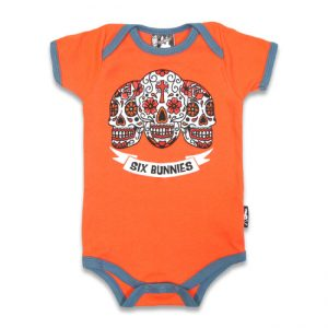Six Bunnies - Skull Strampler Amigos - orange mit Druck