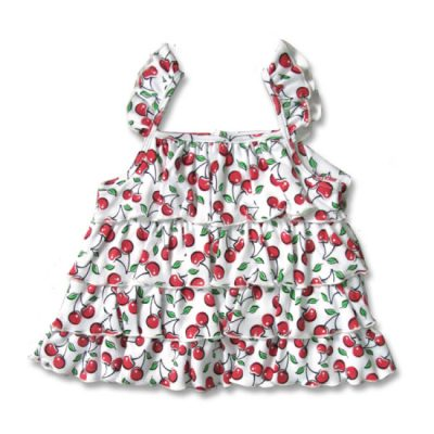 Six Bunnies - stoere tanktop Cute Cherries tank - wit met print