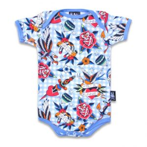 Six Bunnies - stoere romper Tattoo Shoppe Blue - blauw