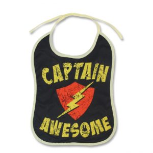 Six Bunnies - awesome slabbetje Captain Awesome - zwart met print