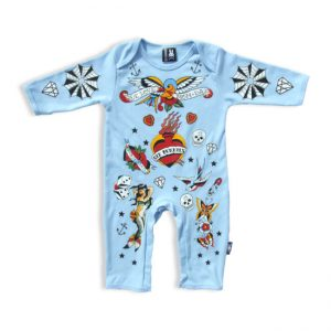 Six Bunnies - retro playsuit Blue Old-School Bunny Suit - blauw met print