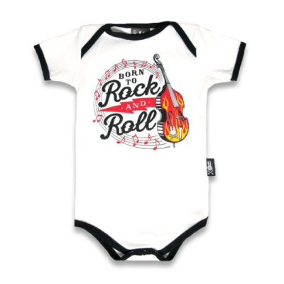 Six Bunnies – rockabilly romper Born To Rock And Roll – wit en zwart met print