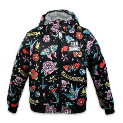 Six Bunnies - tattoostijl jacket Cute Flash - zwart met print