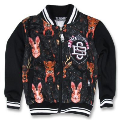 Six Bunnies - wildlife jacket Forrest Animals - zwart met print