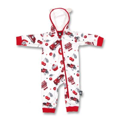 Six Bunnies - classic hooded playsuit Cherry Garage - wit en rood met print
