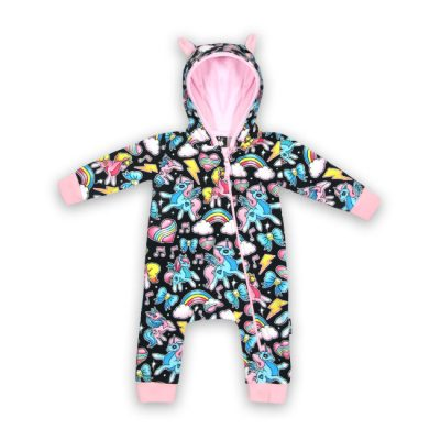 Six Bunnies - eenhoorn hooded playsuit Unicorns - zwart en roze met print