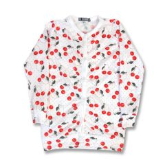 Six Bunnies - fruitig vest Cherry - wit met kersenprint