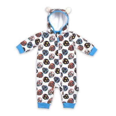 Six Bunnies - skully hooded playsuit Sugar Skulls II - wit en blauw met print
