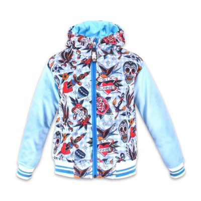 Six Bunnies - tattooshop jacket Tattoo Shoppe - blauw met print