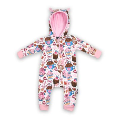 Six Bunnies - zoete hooded playsuit Cupcakes - wit en roze met print