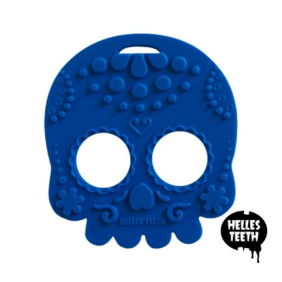 Blauwe bijtring - Helles Teeth Sugar Skull Teether - blauw