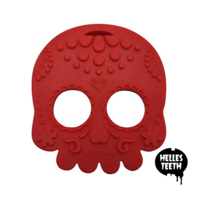 Rode bijtring - Helles Teeth Sugar Skull Teether - rood