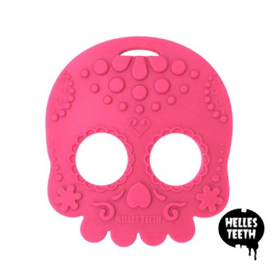 Roze bijtring - Helles Teeth Sugar Skull Teether - roze