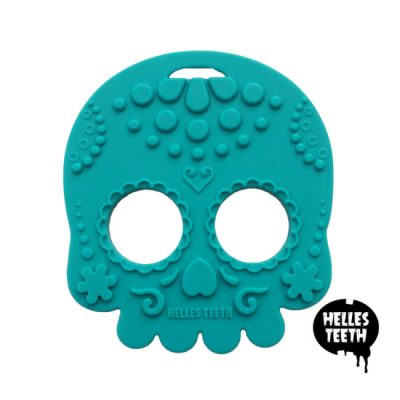 Teal bijtring - Helles Teeth Sugar Skull Teether - blauwgroen