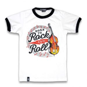 Six Bunnies - rockabilly t-shirt Born To Rock And Roll - wit met print