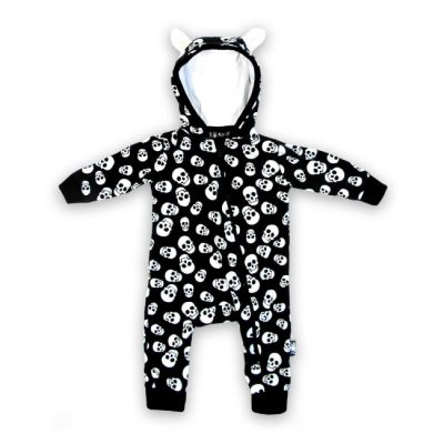 Six Bunnies - skulls hooded playsuit Polka Skulls - zwart met print