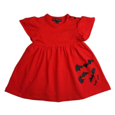 Metallimonsters - vleermuisjurkje Bats Dress Red - rood met print