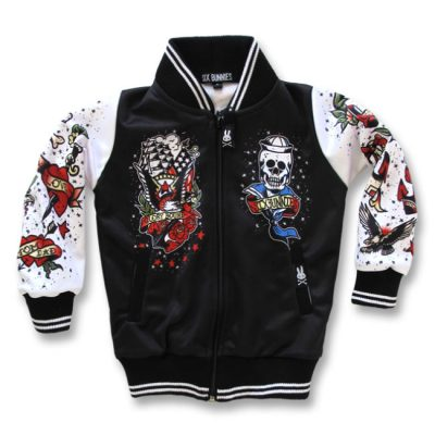 Six Bunnies - oldschool jacket Tattoo - wit en zwart met tattooprint