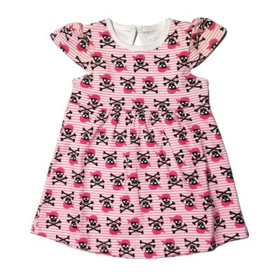Metallimonsters - piratenjurkje Pirate dress - roze met print