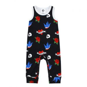 Metalli monsters - tough pantsuit Tattoo Flash - white and black with print