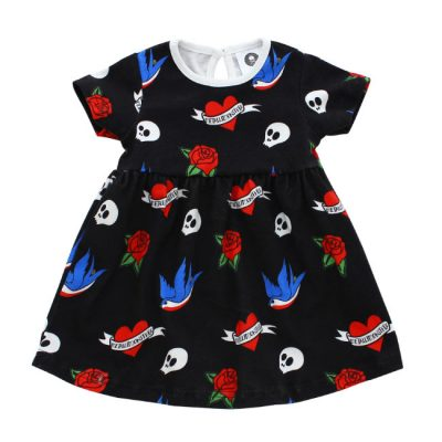Metallimonsters - tattooshop jurkje Tattoo Flash dress - zwart met print