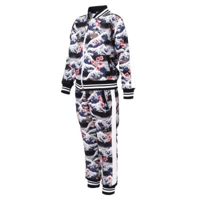 Six Bunnies - Hawaii tracksuit Surf's Up - zwart met print