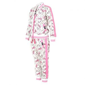 Six Bunnies - bunny tracksuit Bunnies - pink and white with print
