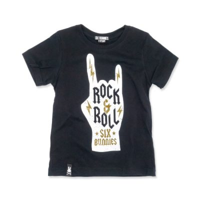 Six Bunnies - corna t-shirt Rock & Roll - zwart met print