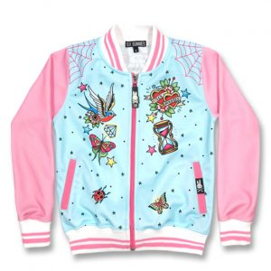 Six Bunnies - loving jacket True Love - pink and blue with print