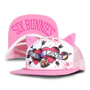 Six Bunnies - loving cap True Love - pink and white with print