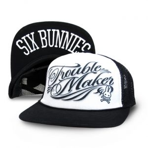 Six Bunnies sweethearts cap Trouble Maker - black and white with print