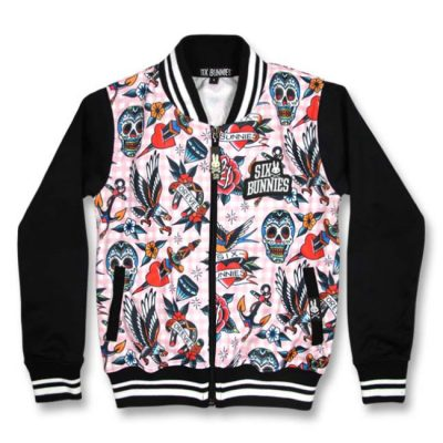 Six Bunnies - tattoostijl jacket Tattoo Shoppe Pink - zwart en roze met print