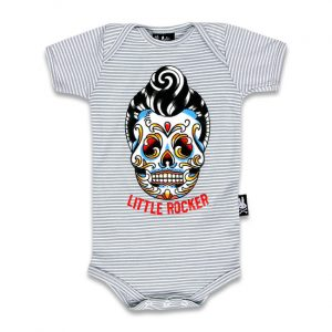 Six Bunnies - rockabilly romper Little Rocker - grijs met Sugar Skulls rocker print