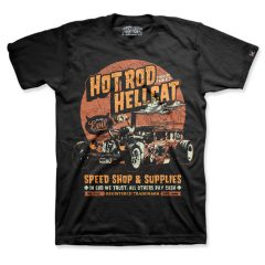 Hotrod Hellcat - speedshop t-shirt In God We Trust - zwart met oranje print