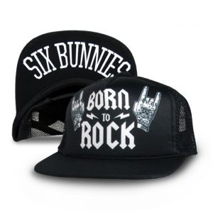 Six Bunnies - rock 'n roll cap Born To Rock - black with print