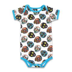 Six Bunnies - skully romper Sugar Skulls II - white and blue with print