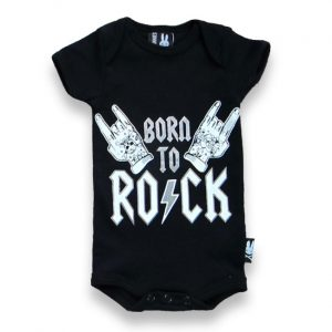 Six Bunnies - rock romper Born To Rock II - black with print